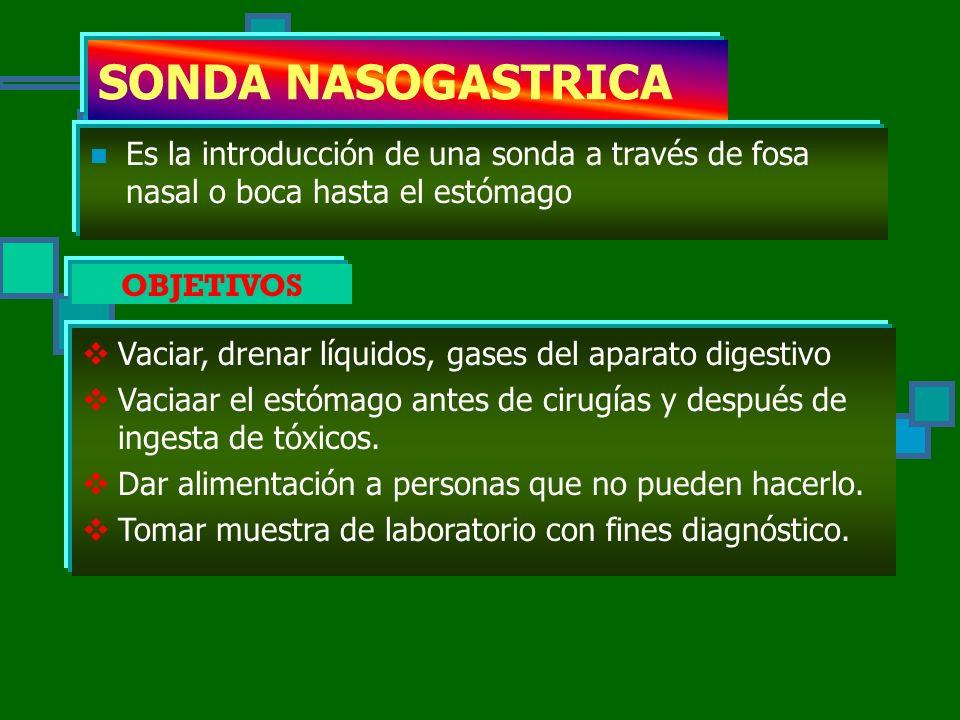 SONDA NASOGASTRICA Es la introducción de una sonda a través de fosa nasal o boca hasta el estómago.