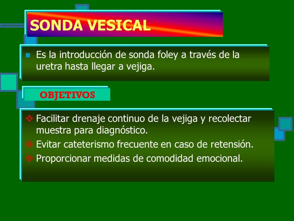 SONDA VESICAL Es la introducción de sonda foley a través de la uretra hasta llegar a vejiga. OBJETIVOS.