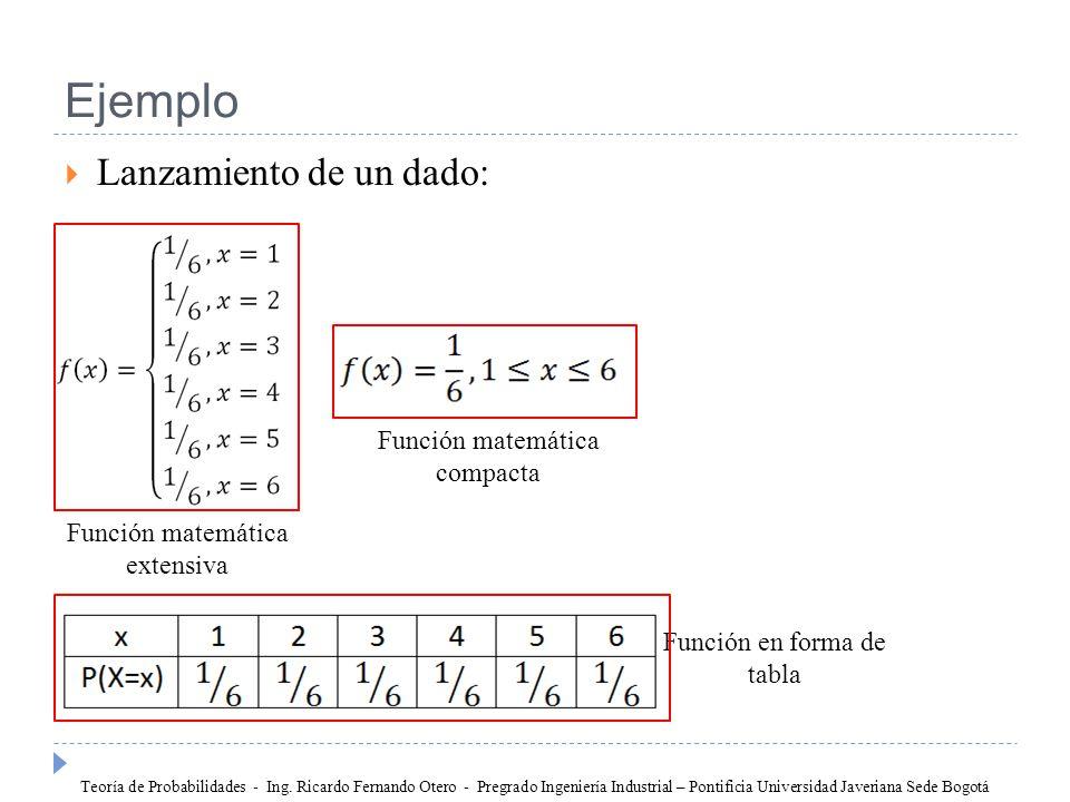 Ejemplo Lanzamiento de un dado: Función matemática compacta