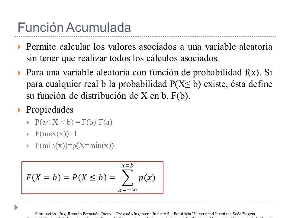 Función Acumulada Permite calcular los valores asociados a una variable aleatoria sin tener que realizar todos los cálculos asociados.