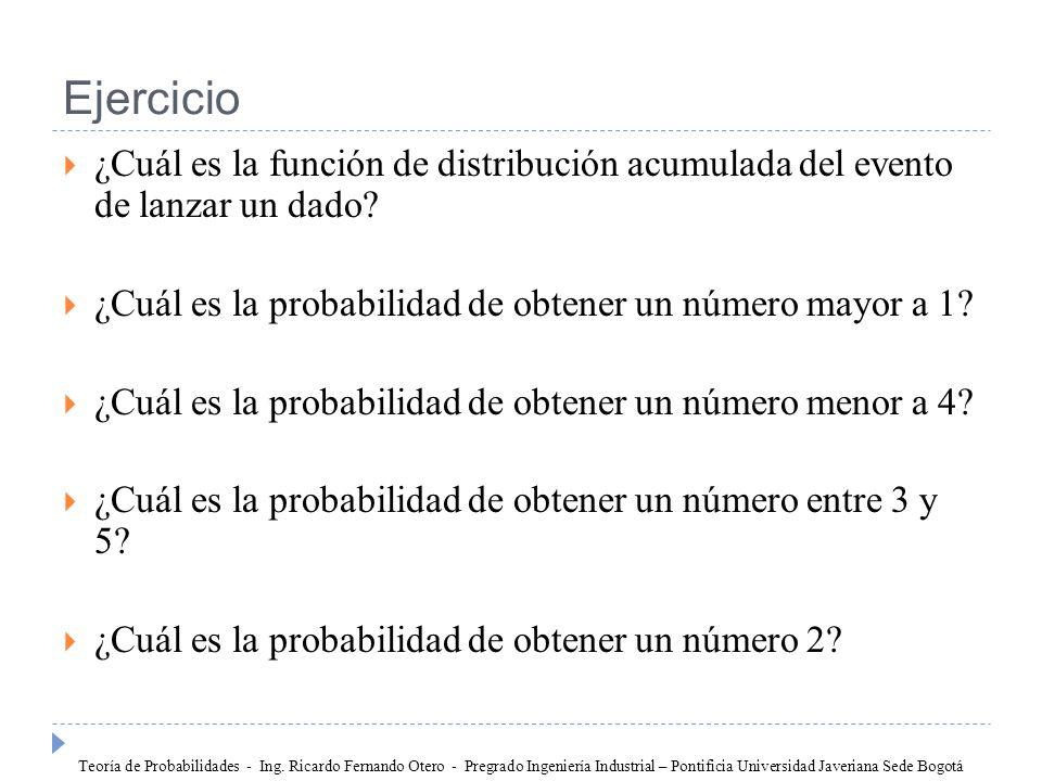 Ejercicio ¿Cuál es la función de distribución acumulada del evento de lanzar un dado ¿Cuál es la probabilidad de obtener un número mayor a 1