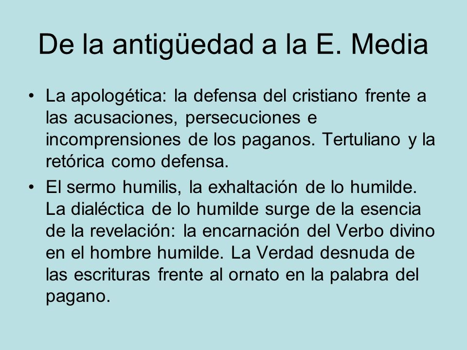 De la antigüedad a la E. Media