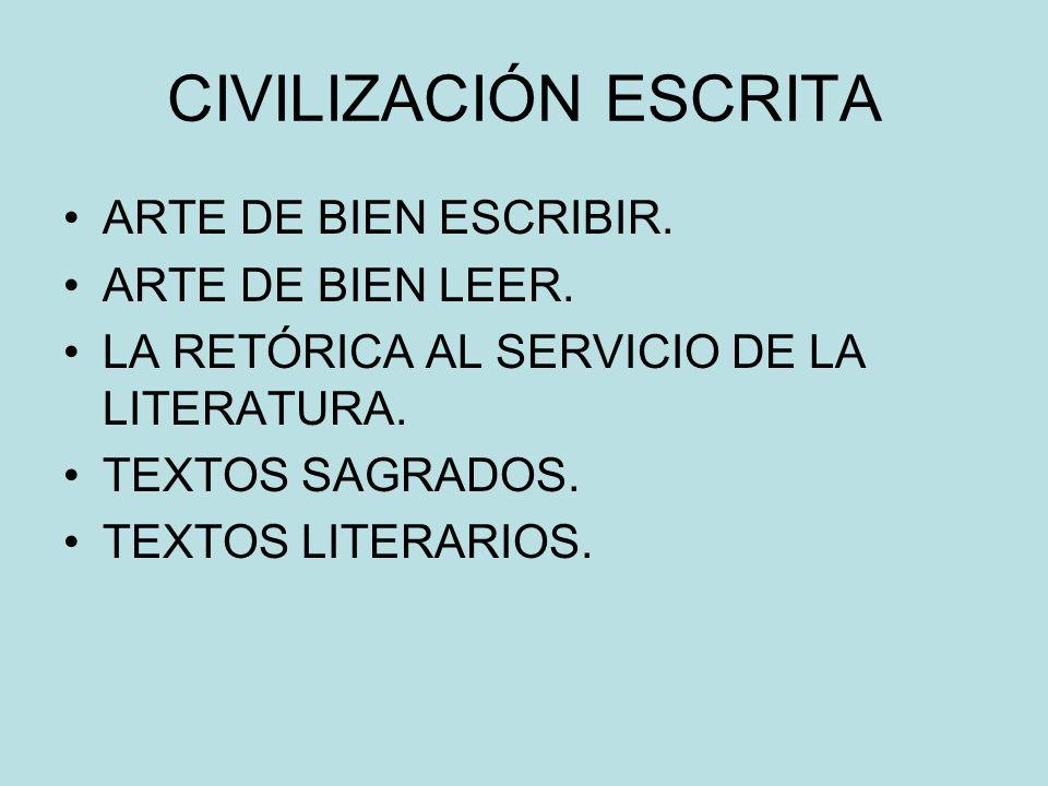 CIVILIZACIÓN ESCRITA ARTE DE BIEN ESCRIBIR. ARTE DE BIEN LEER.