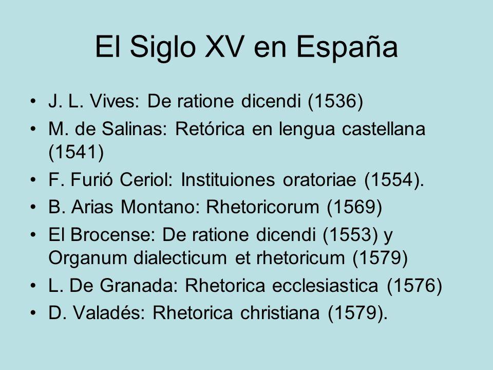 El Siglo XV en España J. L. Vives: De ratione dicendi (1536)