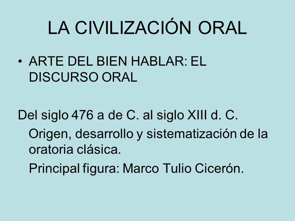 LA CIVILIZACIÓN ORAL ARTE DEL BIEN HABLAR: EL DISCURSO ORAL