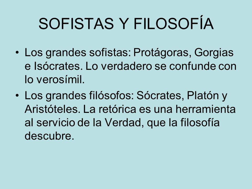SOFISTAS Y FILOSOFÍA Los grandes sofistas: Protágoras, Gorgias e Isócrates. Lo verdadero se confunde con lo verosímil.