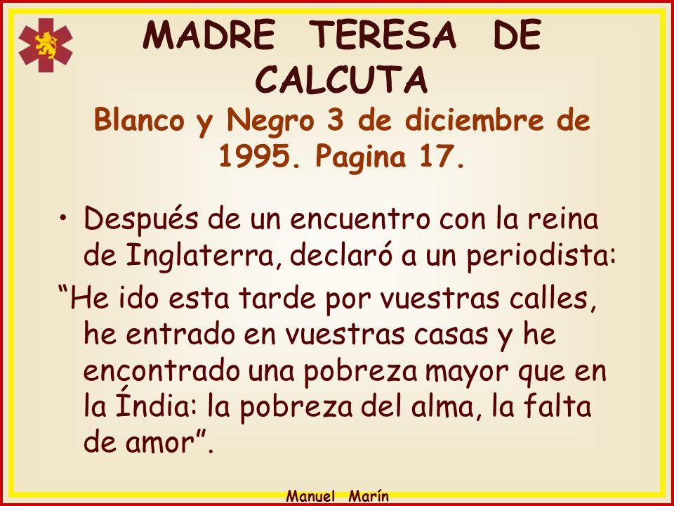 MADRE TERESA DE CALCUTA Blanco y Negro 3 de diciembre de 1995
