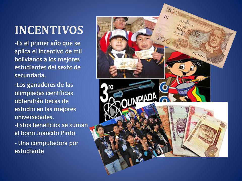 INCENTIVOS -Es el primer año que se aplica el incentivo de mil bolivianos a los mejores estudiantes del sexto de secundaria.