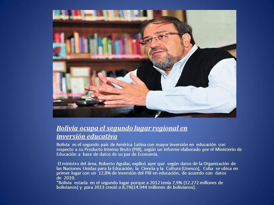 Bolivia ocupa el segundo lugar regional en inversión educativa