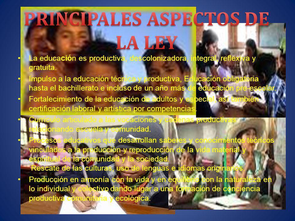 PRINCIPALES ASPECTOS DE LA LEY