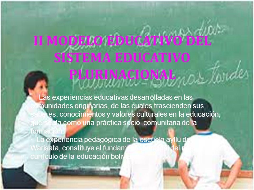 II MODELO EDUCATIVO DEL SISTEMA EDUCATIVO PLURINACIONAL