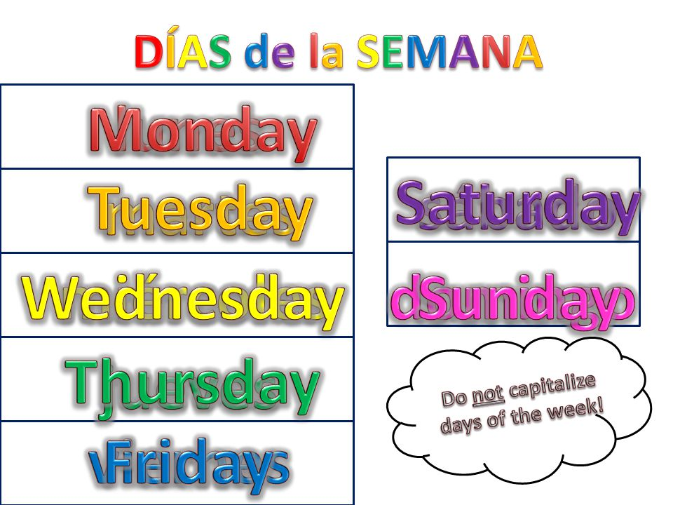 Monday lunes Saturday Tuesday sábado martes Wednesday miércoles