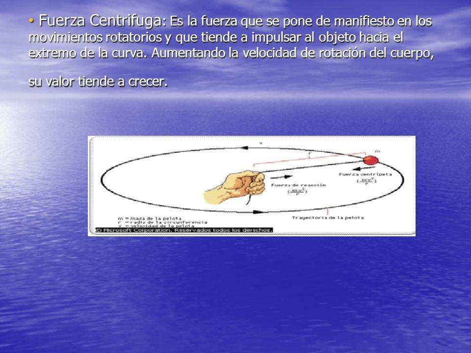 Fuerza Centrifuga: Es la fuerza que se pone de manifiesto en los movimientos rotatorios y que tiende a impulsar al objeto hacia el extremo de la curva.