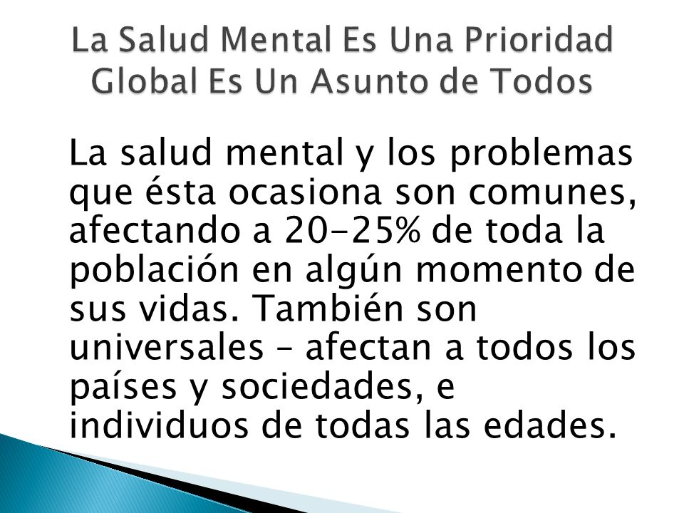 La Salud Mental Es Una Prioridad Global Es Un Asunto de Todos