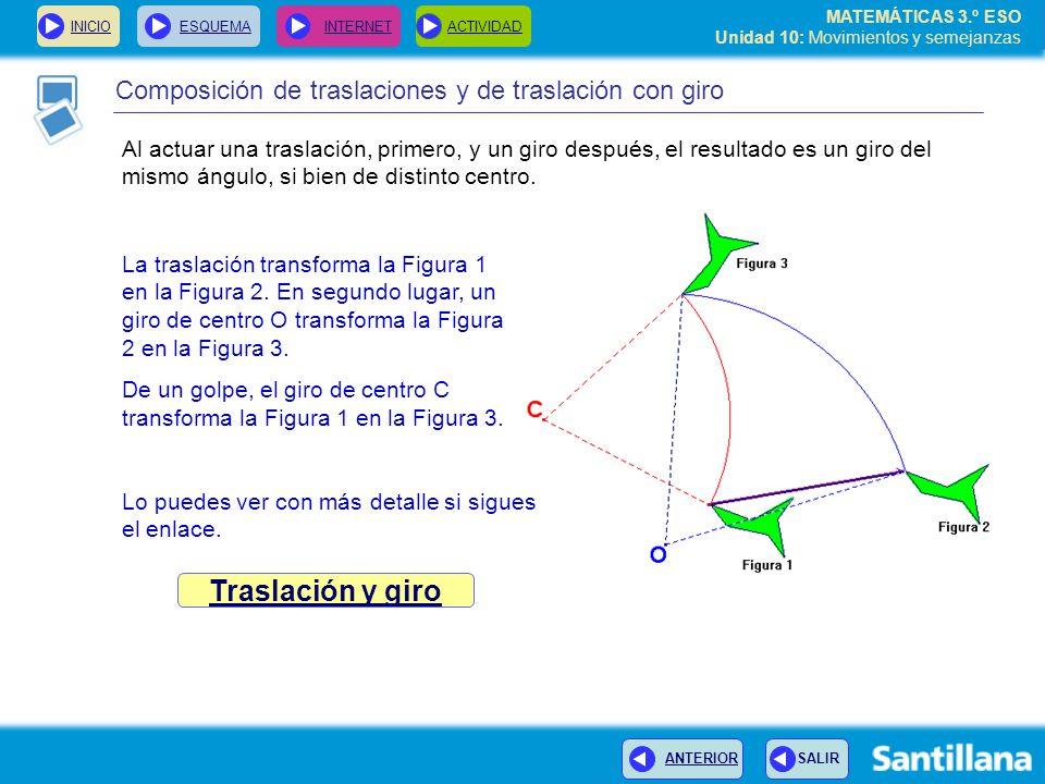 Traslación y giro Composición de traslaciones y de traslación con giro