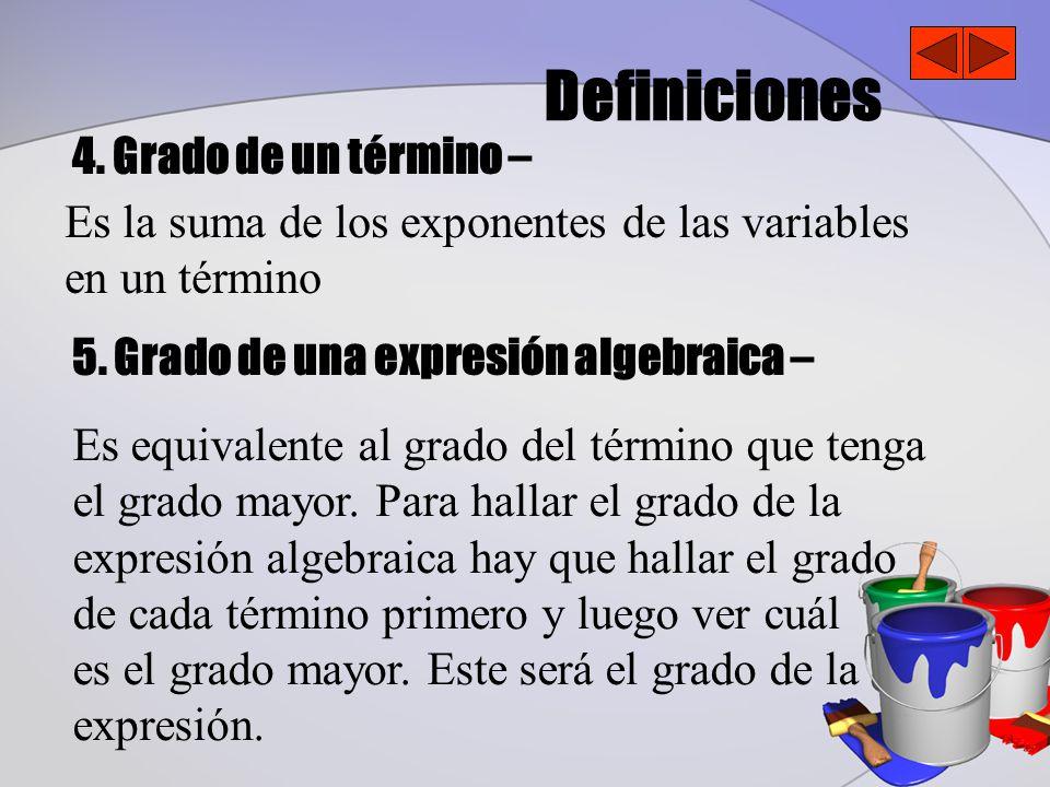 Definiciones 4. Grado de un término –