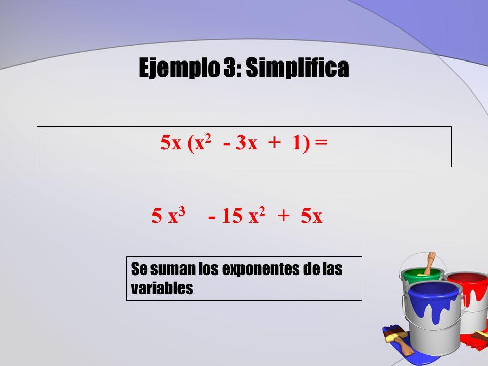 Ejemplo 3: Simplifica 5x (x2 - 3x + 1) = 5 x3 - 15 x2 + 5x