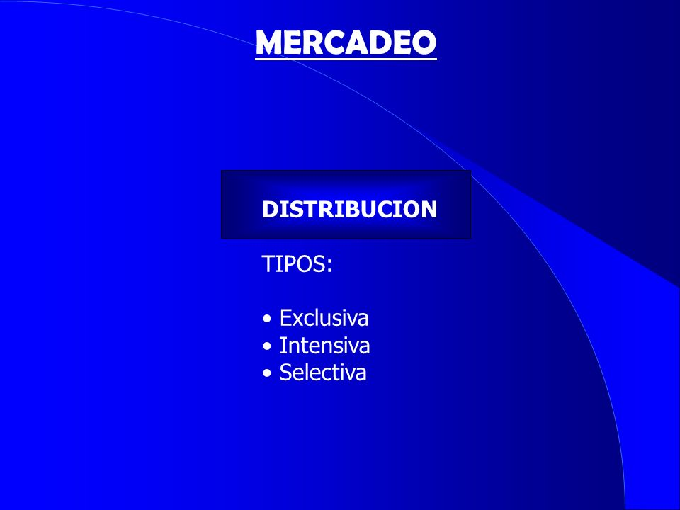 MERCADEO DISTRIBUCION TIPOS: Exclusiva Intensiva Selectiva