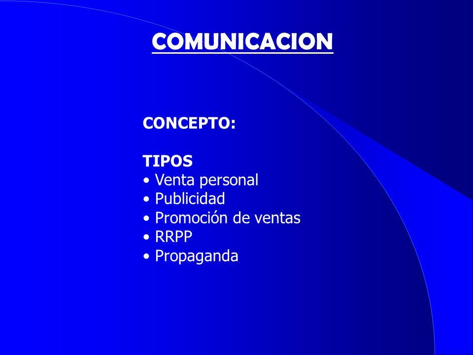 COMUNICACION CONCEPTO: TIPOS Venta personal Publicidad