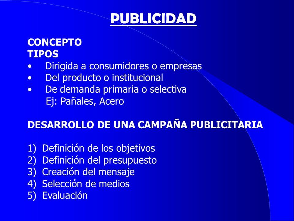 PUBLICIDAD CONCEPTO TIPOS Dirigida a consumidores o empresas