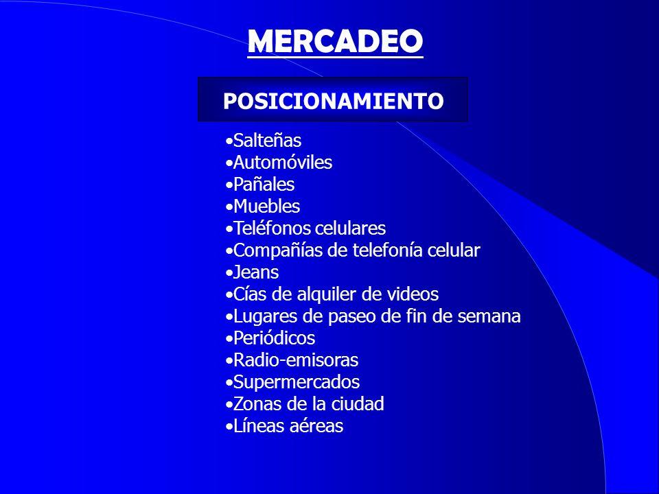 MERCADEO POSICIONAMIENTO Salteñas Automóviles Pañales Muebles