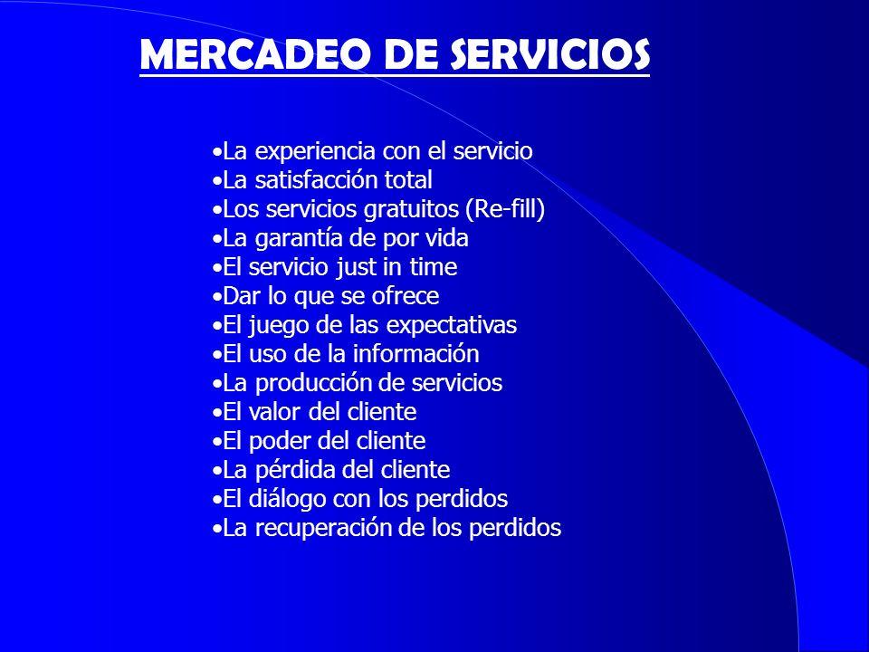 MERCADEO DE SERVICIOS La experiencia con el servicio