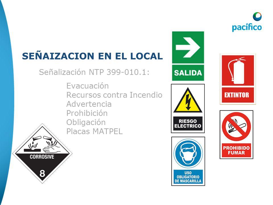 Señalización SEÑAIZACION EN EL LOCAL Señalización NTP 399-010.1: