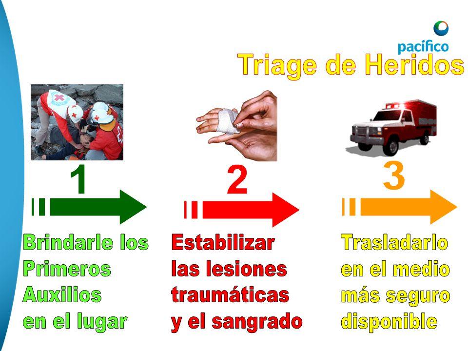 Triage de Heridos3. 1. 2. Brindarle los. Primeros. Auxilios. en el lugar. Estabilizar. las lesiones.