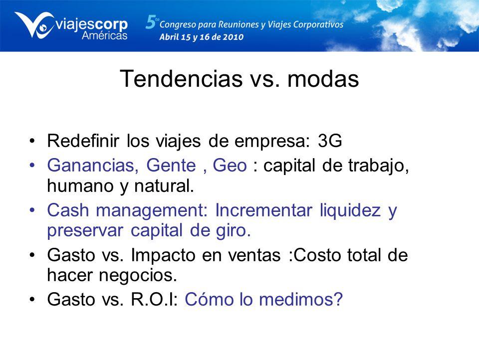 Tendencias vs. modas Redefinir los viajes de empresa: 3G