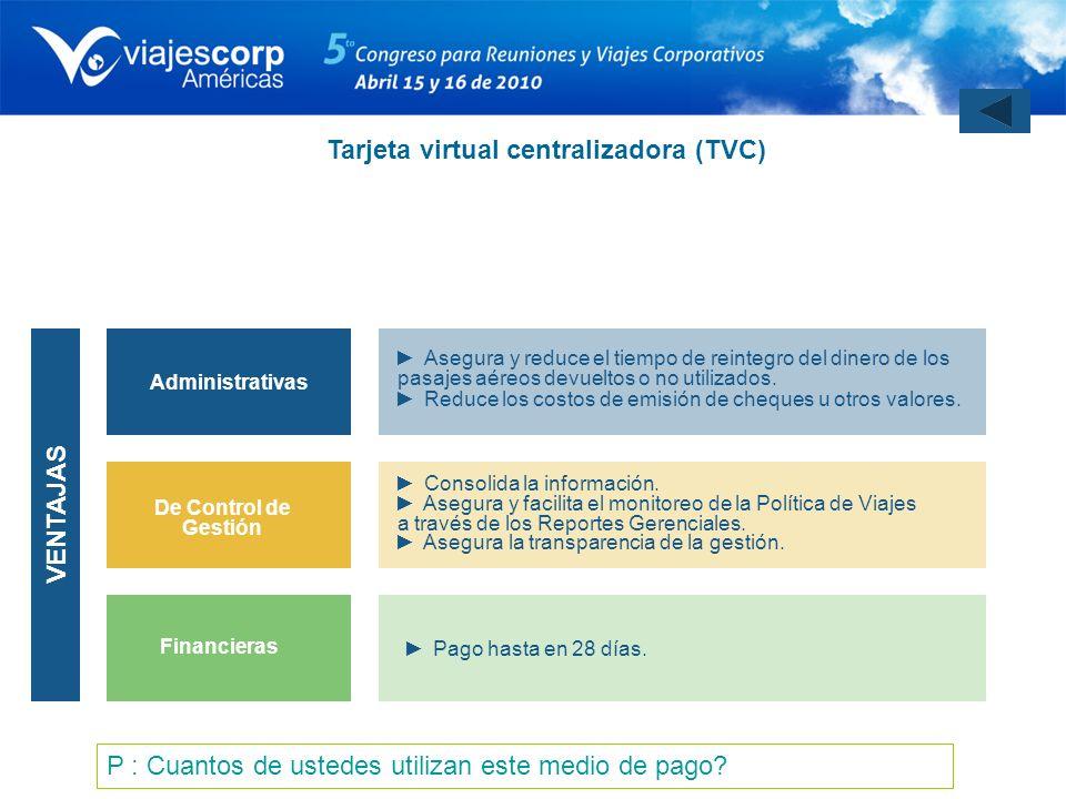 Tarjeta virtual centralizadora (TVC)