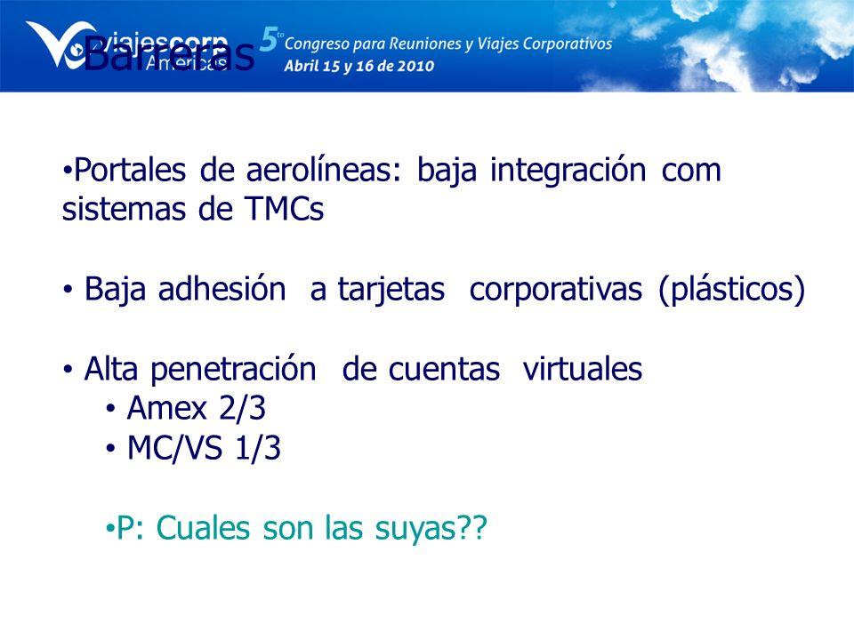 Barreras Portales de aerolíneas: baja integración com sistemas de TMCs