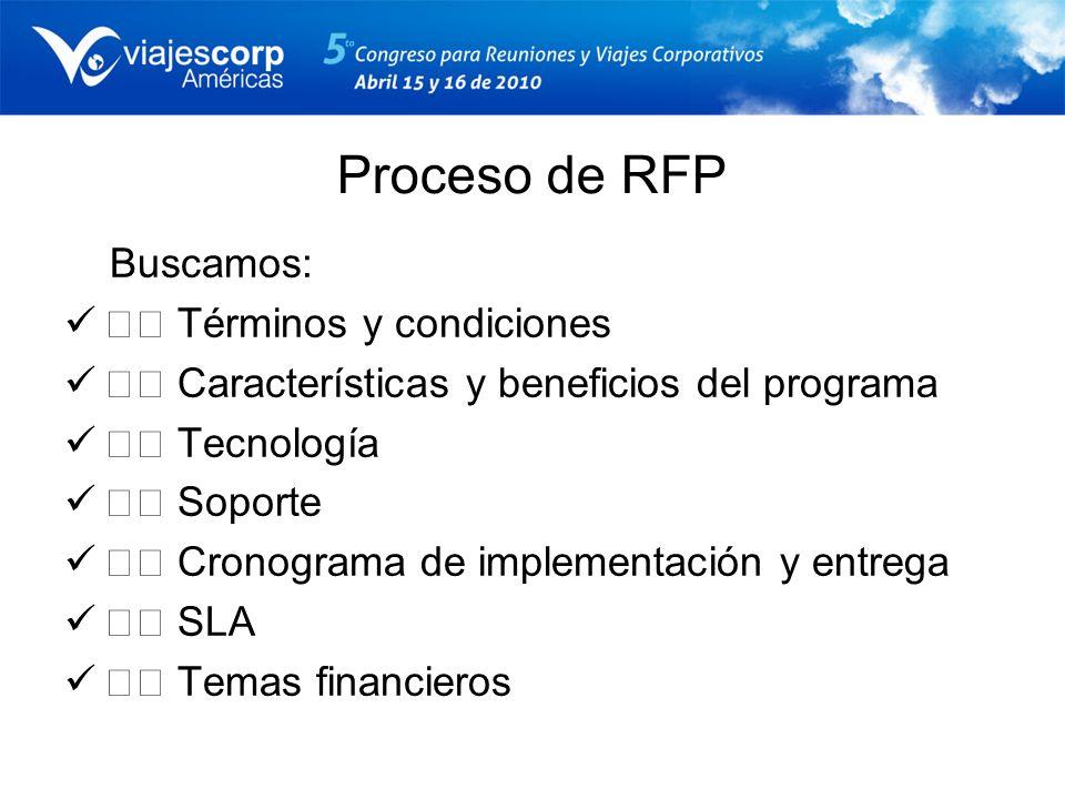 Proceso de RFP Buscamos:  Términos y condiciones