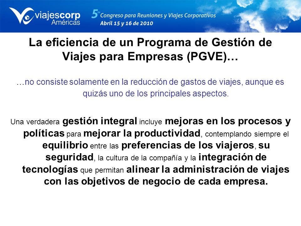 La eficiencia de un Programa de Gestión de Viajes para Empresas (PGVE)…