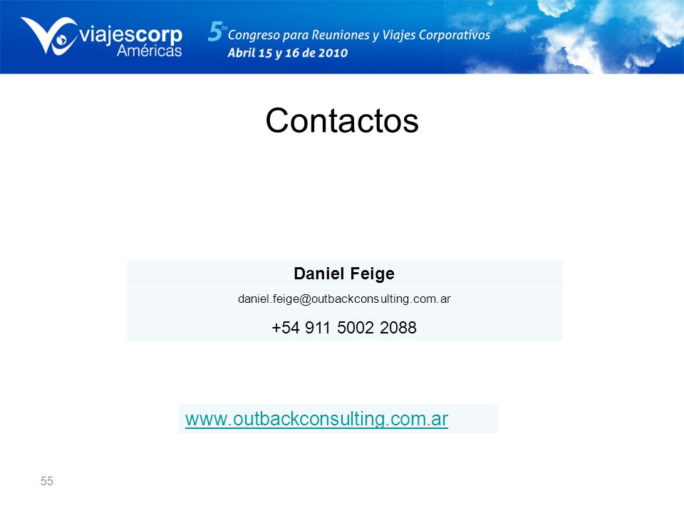Contactos www.outbackconsulting.com.ar Daniel Feige +54 911 5002 2088