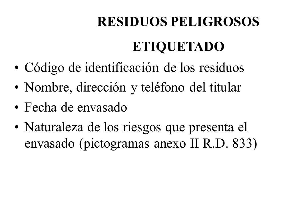 RESIDUOS PELIGROSOS ETIQUETADO. Código de identificación de los residuos. Nombre, dirección y teléfono del titular.