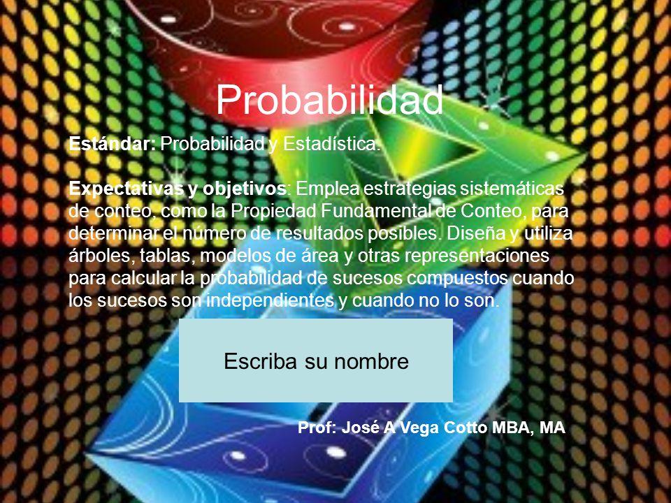 Probabilidad Escriba su nombre Estándar: Probabilidad y Estadística.