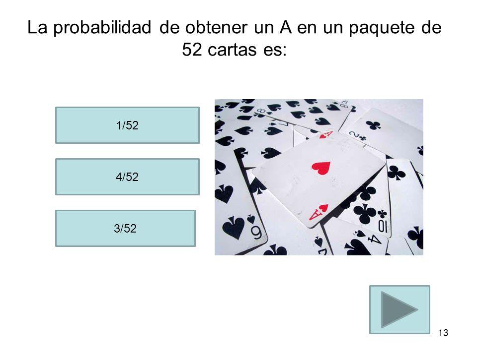 La probabilidad de obtener un A en un paquete de 52 cartas es: