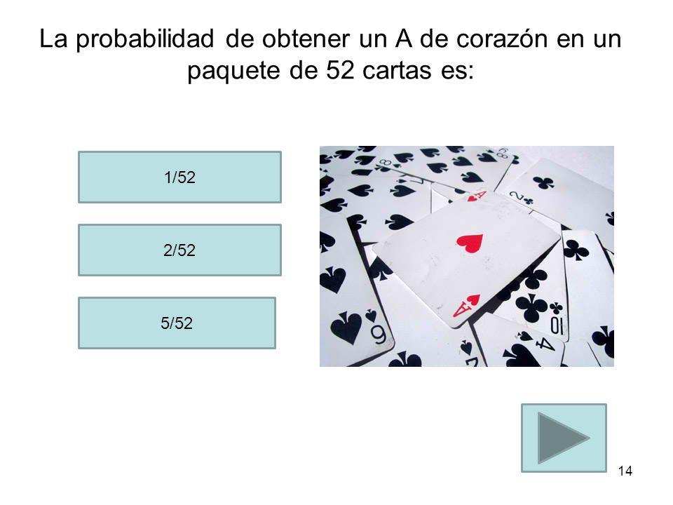 La probabilidad de obtener un A de corazón en un paquete de 52 cartas es: