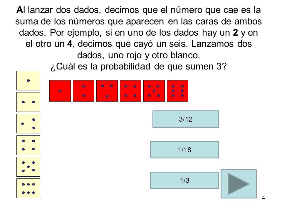Al lanzar dos dados, decimos que el número que cae es la suma de los números que aparecen en las caras de ambos dados. Por ejemplo, si en uno de los dados hay un 2 y en el otro un 4, decimos que cayó un seis. Lanzamos dos dados, uno rojo y otro blanco. ¿Cuál es la probabilidad de que sumen 3