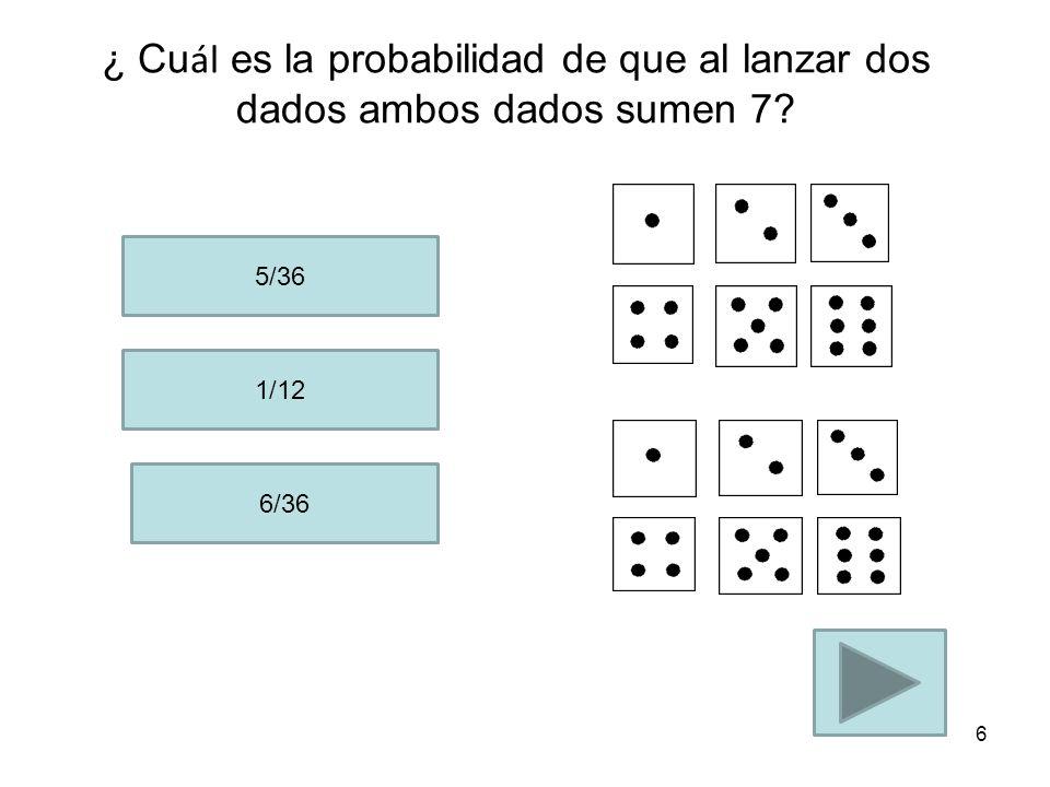 ¿ Cuál es la probabilidad de que al lanzar dos dados ambos dados sumen 7