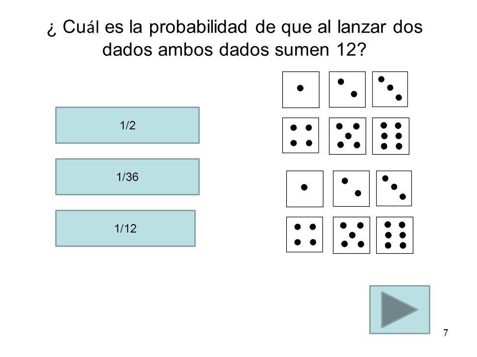 ¿ Cuál es la probabilidad de que al lanzar dos dados ambos dados sumen 12