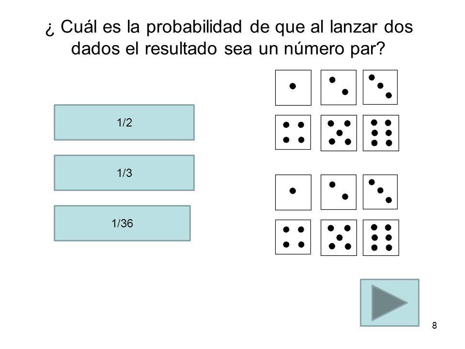 ¿ Cuál es la probabilidad de que al lanzar dos dados el resultado sea un número par