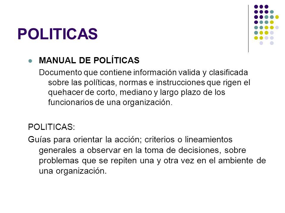 POLITICAS MANUAL DE POLÍTICAS POLITICAS: