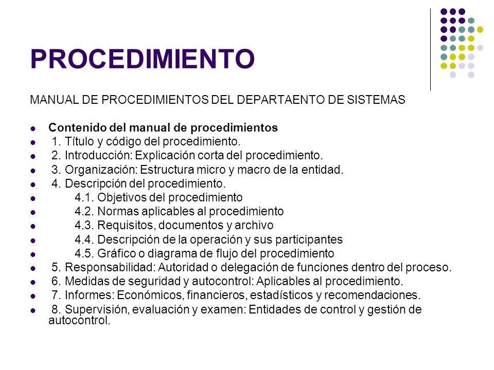 PROCEDIMIENTO MANUAL DE PROCEDIMIENTOS DEL DEPARTAENTO DE SISTEMAS