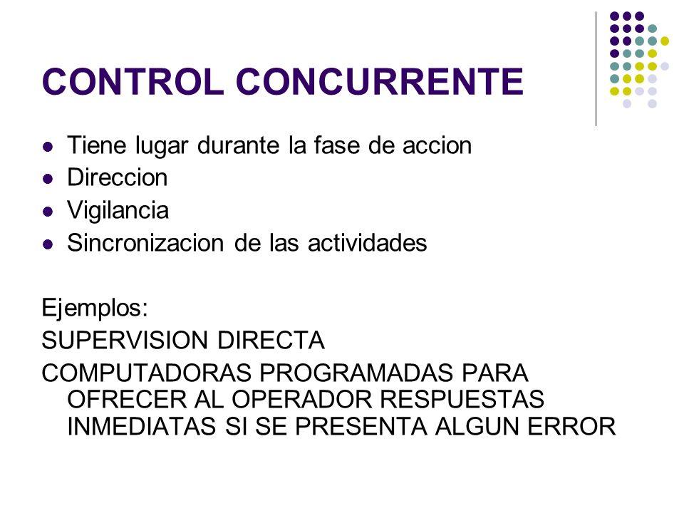 CONTROL CONCURRENTE Tiene lugar durante la fase de accion Direccion