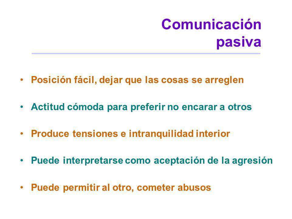 Comunicación pasiva Posición fácil, dejar que las cosas se arreglen