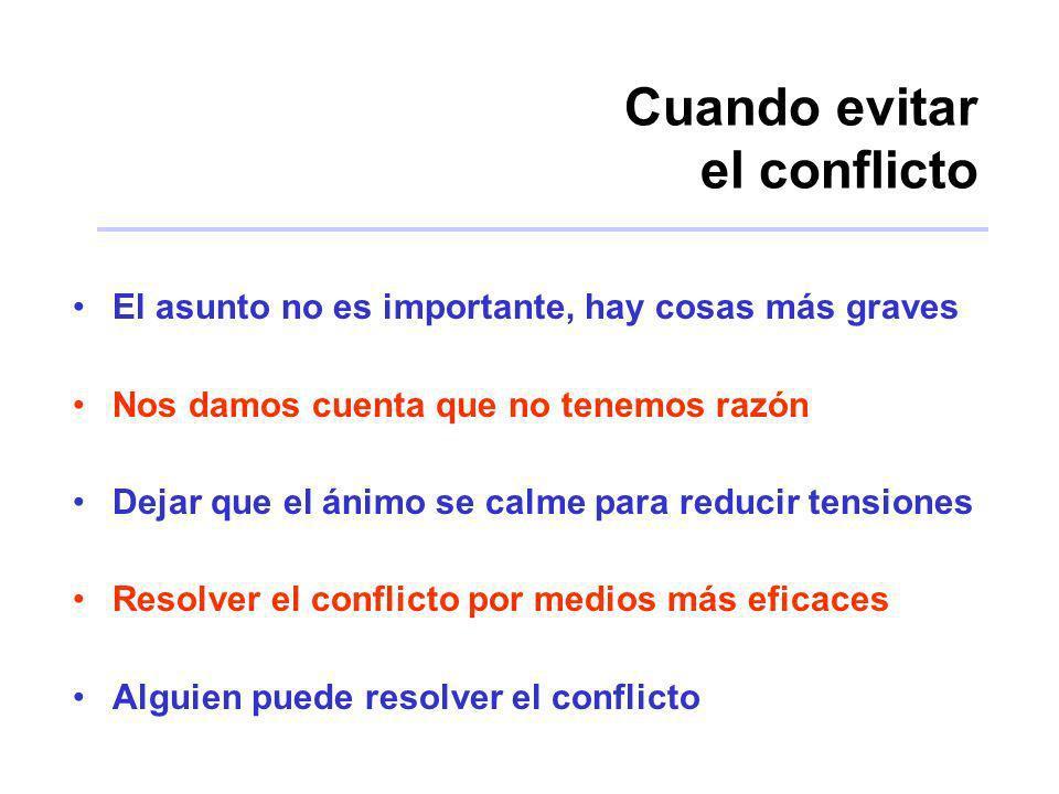 Cuando evitar el conflicto