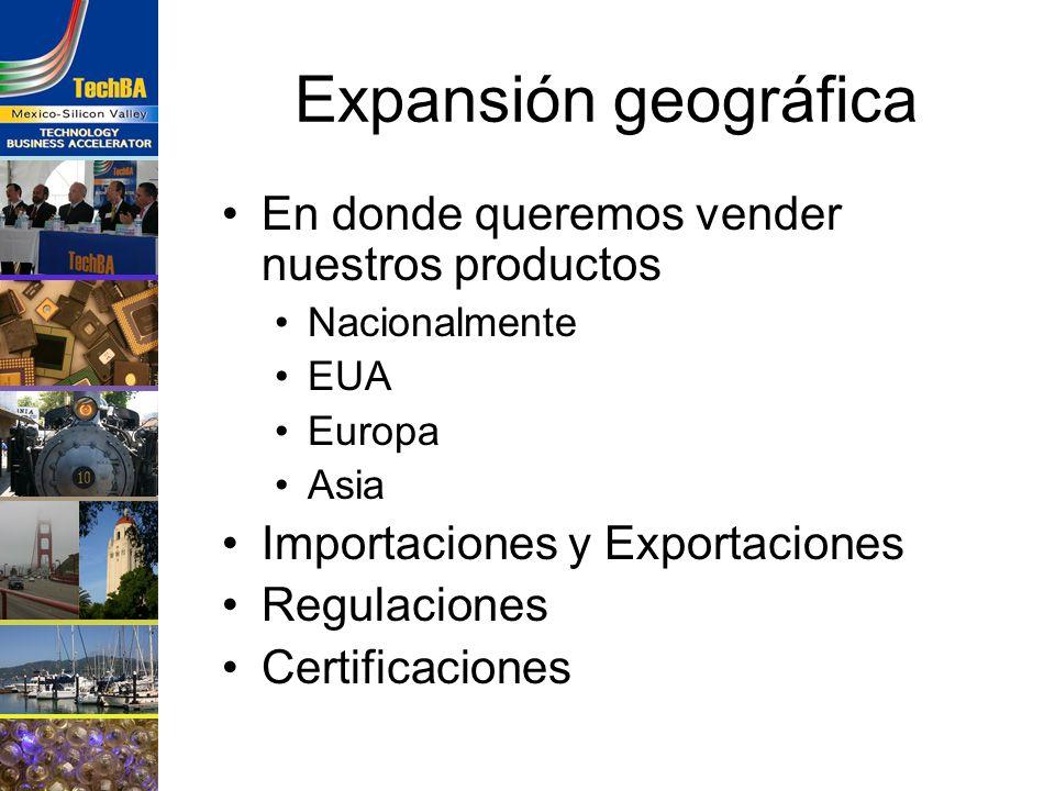 Expansión geográfica En donde queremos vender nuestros productos