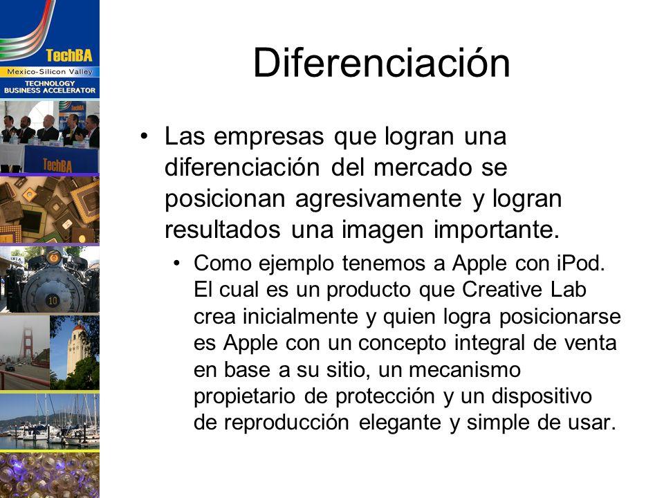 Diferenciación Las empresas que logran una diferenciación del mercado se posicionan agresivamente y logran resultados una imagen importante.