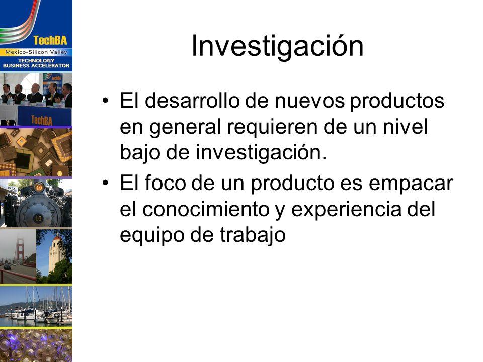 Investigación El desarrollo de nuevos productos en general requieren de un nivel bajo de investigación.